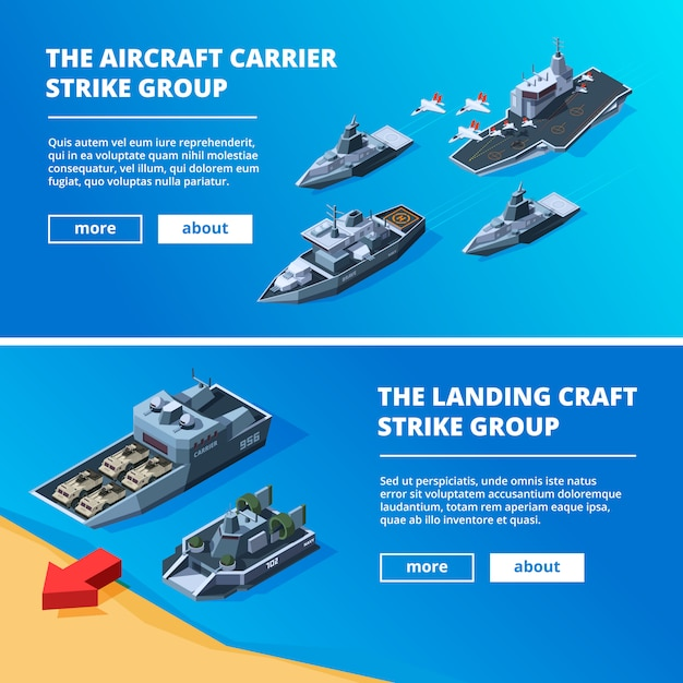 Banners with military boats. Premium Vector