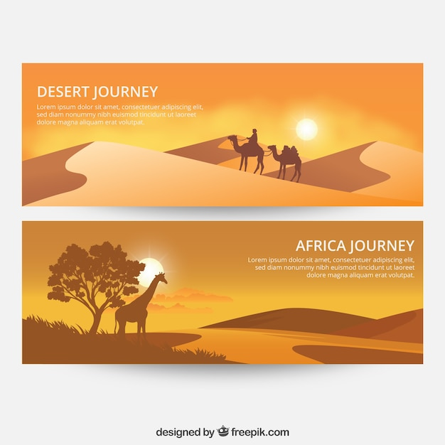 Banners with nature landscape Free Vector