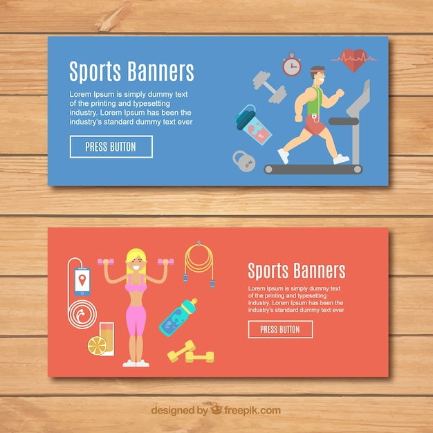 Banners with nice sport elements in flat\ design