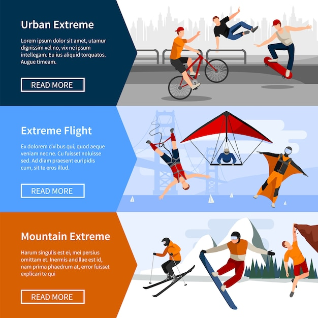 Banners with people doing extreme sports such as parkour paragliding and snowboard Free Vector