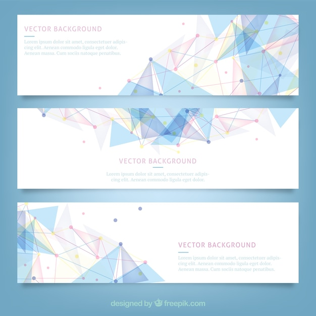 Banners with polygonal design vector free download Blueprint designer free