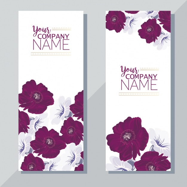 Banners with purple flowers Free Vector