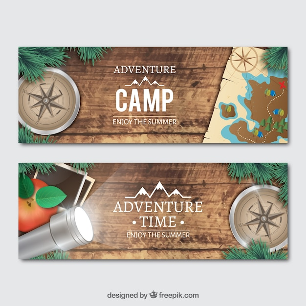 Banners with realistic adventure objects Free Vector