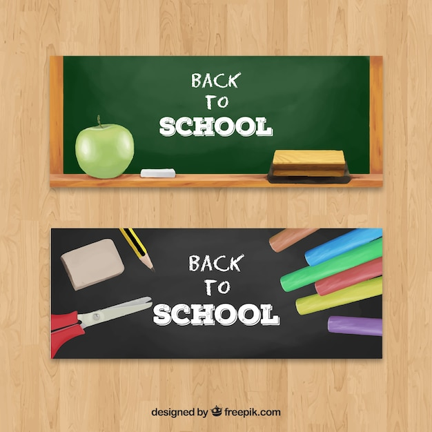 Banners with realistic school elements