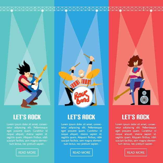 Banners with rock musicians playing instruments Premium Vector