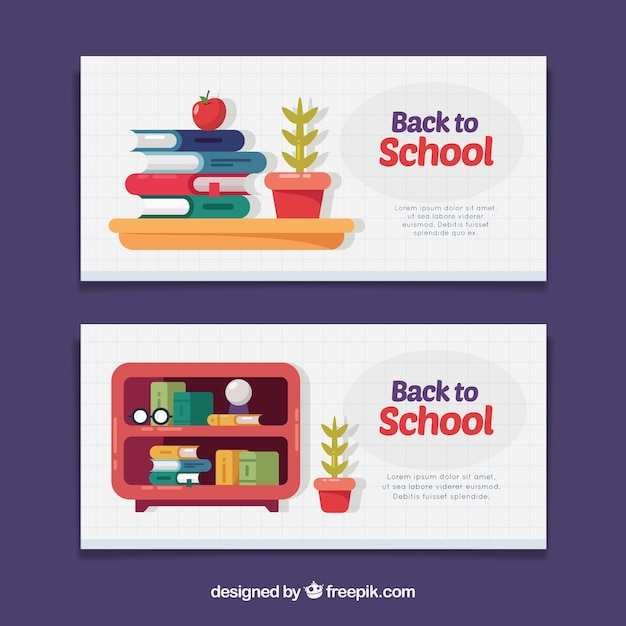 Banners with school books in flat design
