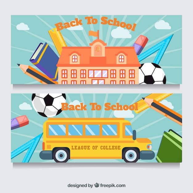 Banners with school bus, building and accesories