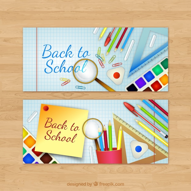 Banners with school material on notebook paper