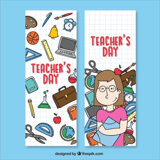 Banners with school supplies and a teacher