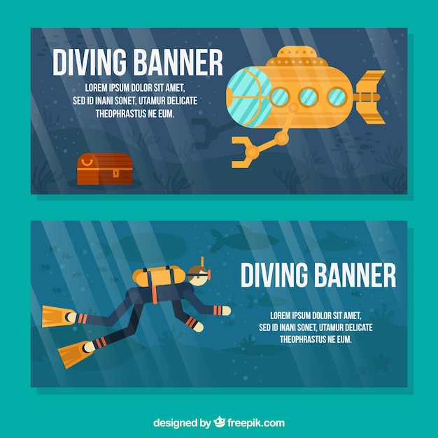 Banners with a scuba diver and yellow submarine Free Vector