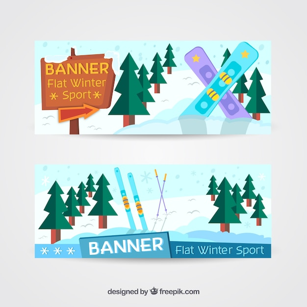 Banners with snowboards and trees