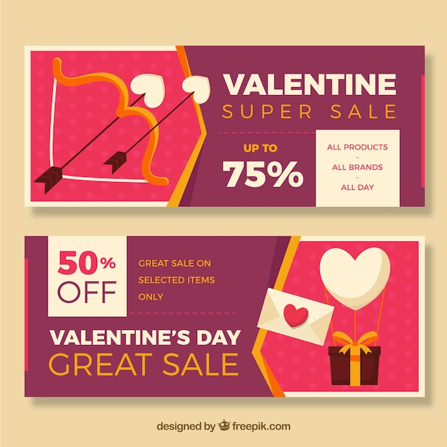 Banners with special offers for valentine's day Free Vector