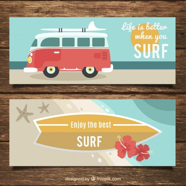 Banners with surf phrases