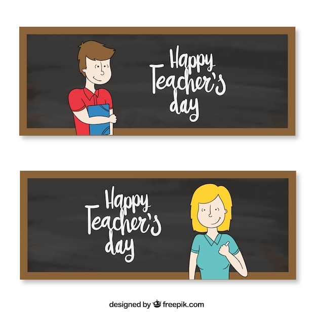 Banners with teachers and blackboards\ background
