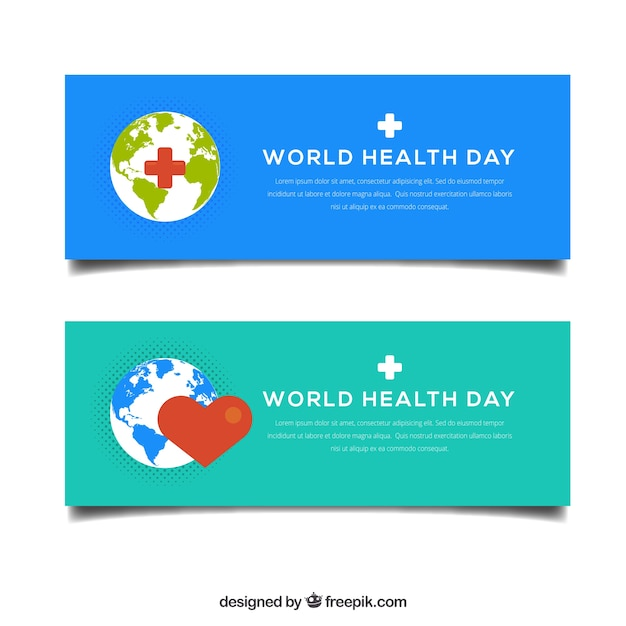 Banners with the world of health day