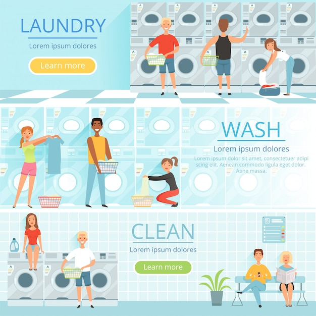 Banners with washing pictures Premium Vector