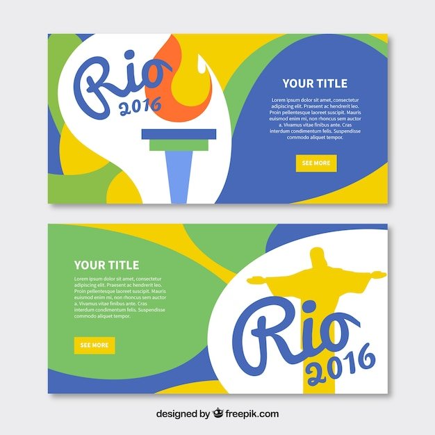 Banners with wavy shapes for the olympic games Free Vector