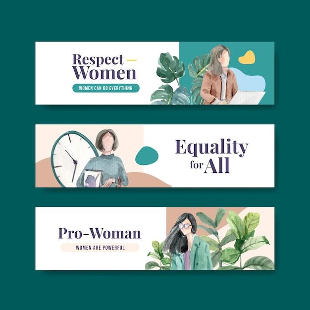 Modello di bannner con concept design della giornata mondiale dell'acqua per la pubblicità e l'illustrazione dell'acquerello di marketing Vettore gratuito