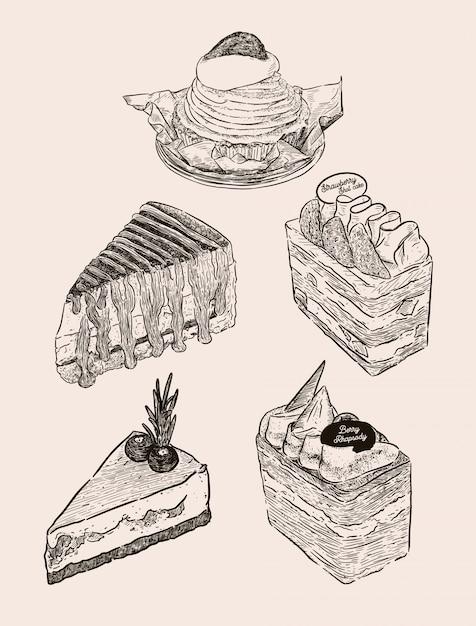 Набор пирога, монблана, banoffee, слоеного пирога слоеного сливочного сока, черничного чизкейка и шоколадного ягодного торта. рука рисовать эскиз вектор. Premium векторы