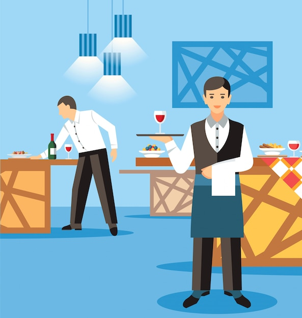 Banquet catering service flat vector illustration Premium Vector
