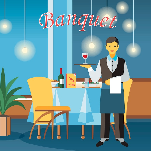 Banquet hall flat vector illustration Premium Vector