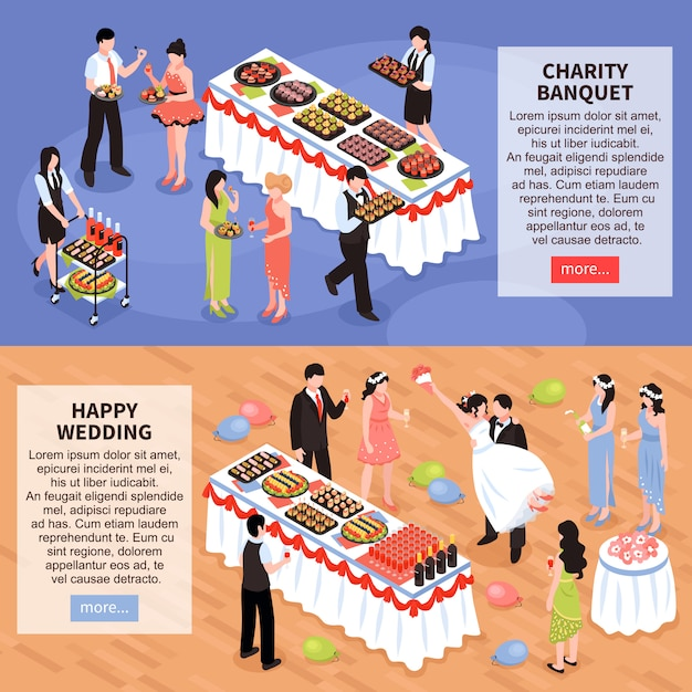 Banquet party horizontal banners Free Vector