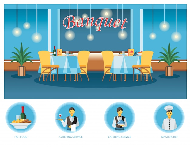 Banquet room, hall flat illustration Premium Vector
