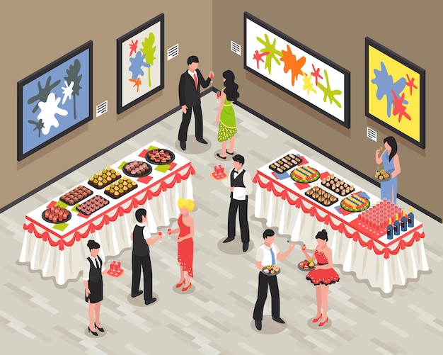 Banquet room with guests staff food and drinks on tables walls with bright pictures isometric vector illustration Free Vector