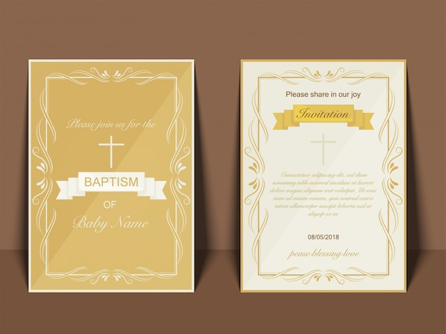 Baptism invitation card design with cross symbol Premium Vector