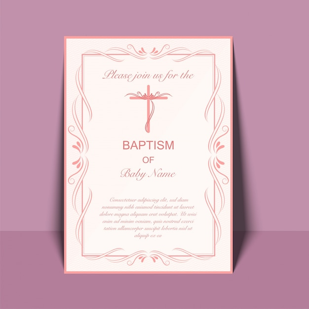 Baptism invitation card design with cross symbol vector premium baptism invitation card design with cross symbol premium vector stopboris Image collections