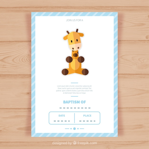Template battesimo invitation card Vettore gratuito