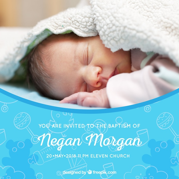 Baptism invitation with drawings Free Vector