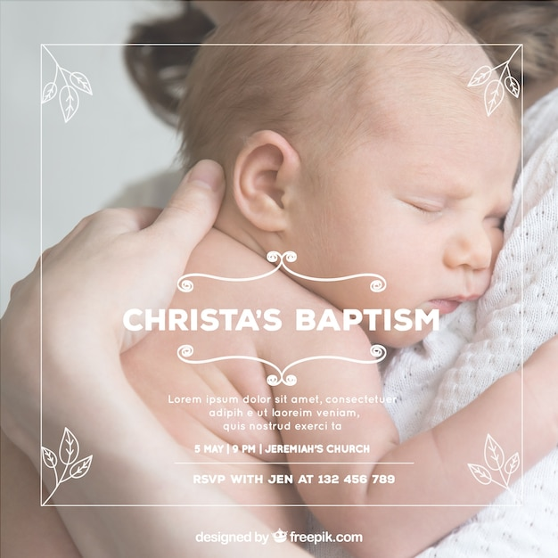 Baptism invitation with hand drawn leaves Free Vector