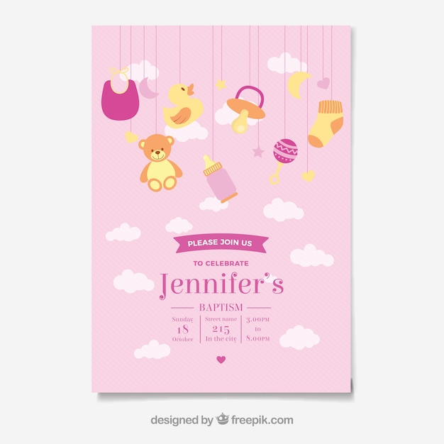 Baptismal invitation illustration vector free download baptismal invitation illustration free vector stopboris Image collections