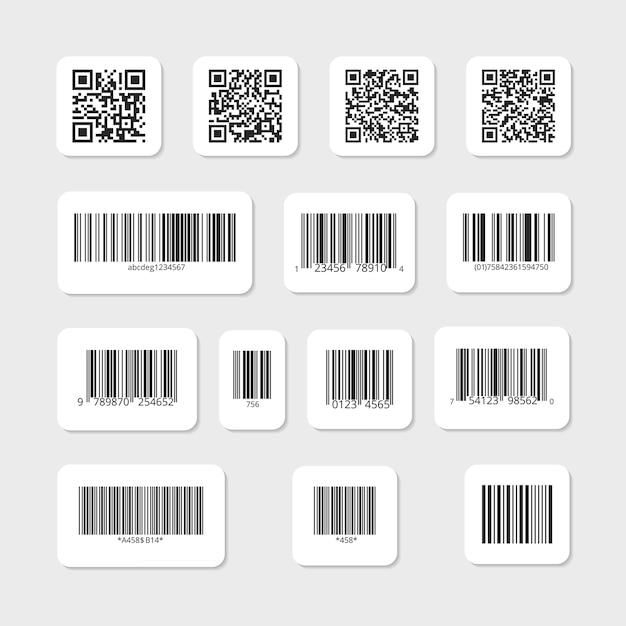 白いステッカーセットのバーとqrコード。ラベル情報データ、識別ストリップ 無料ベクター