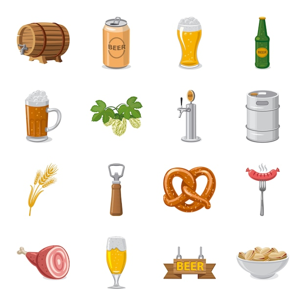 Bar cartoon icon set, beer bar. Premium Vector