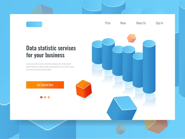 Bar chart banner, statistic and planning concept, business analytics Free Vector
