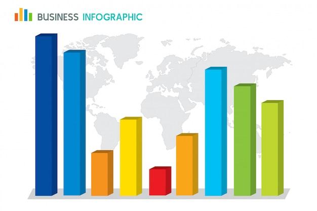 Bar chart diagram infographic on globe Premium Vector