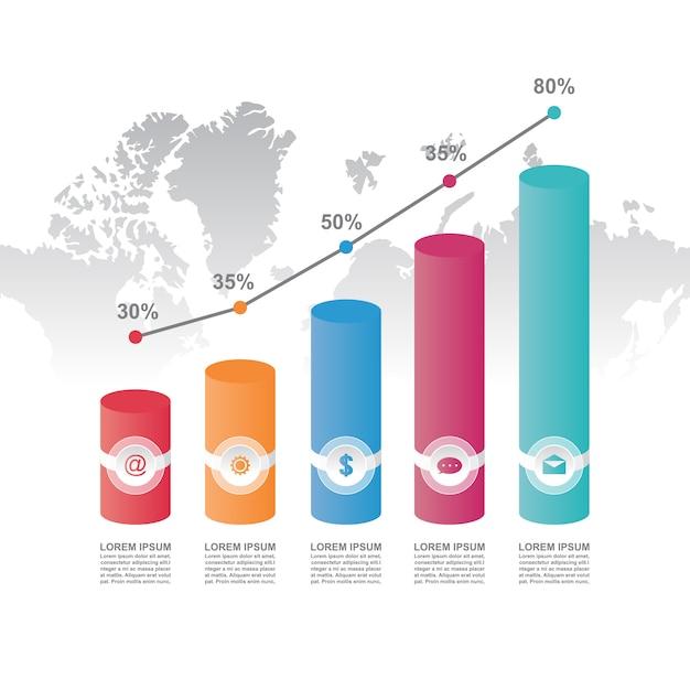 Premium Vector | Bar chart graph diagram statistical ...