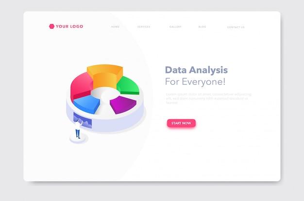Bar chart isometric illustration website landing page Vector