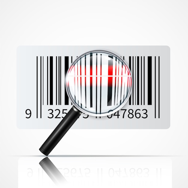 Bar code magnifier realistic illustration Free Vector