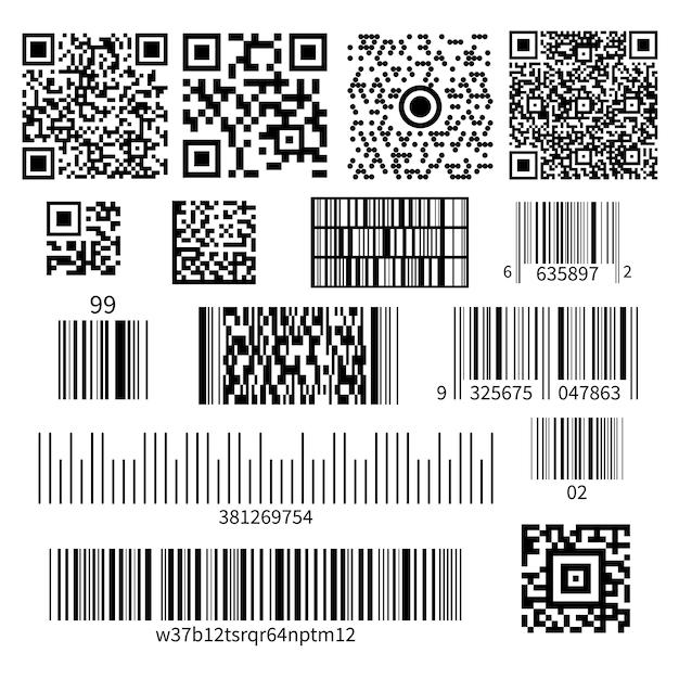 Bar code types set Free Vector