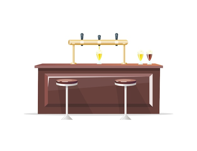 バーカウンターフラットカラーオブジェクト。クラフトビール。ビールレストラン。肩掛け。飲料用ガラス。ナイトクラブとパブのインテリアは、webグラフィックデザインとアニメーションの漫画イラストを分離しました Premiumベクター