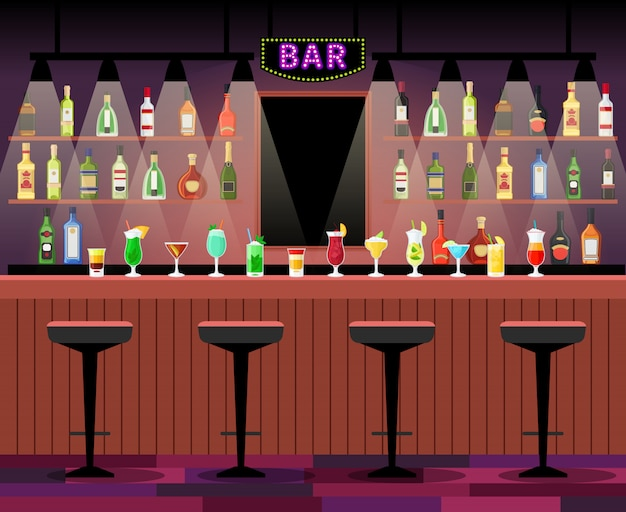 Bar counter with stools before it, and alcohol cocktails and bottles on the shelves. vector illustration Premium Vector