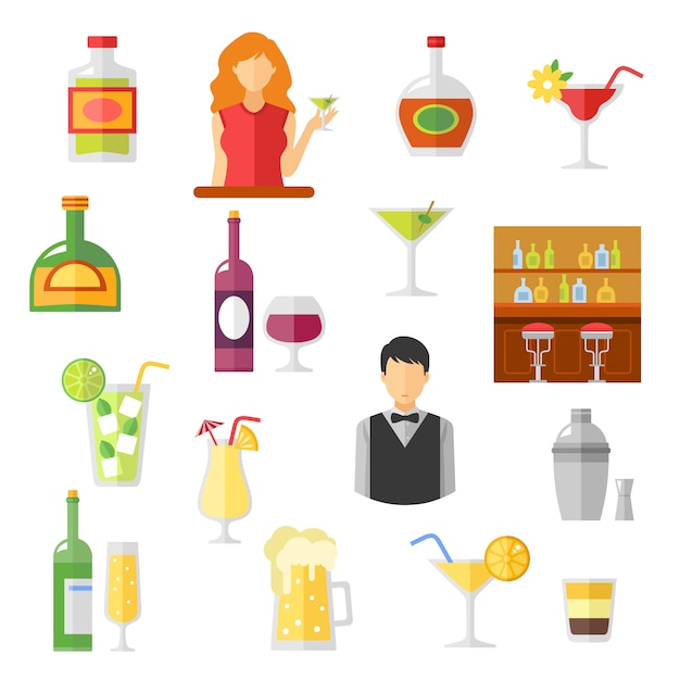 Bar flat icons collection Free Vector