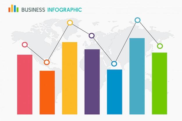 Bar graph diagram on globe background Premium Vector