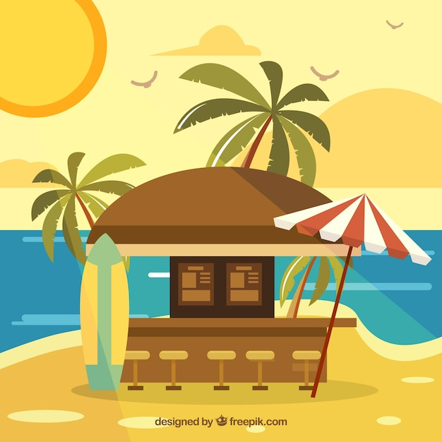 Bar in heavenly beach with flat design Free Vector