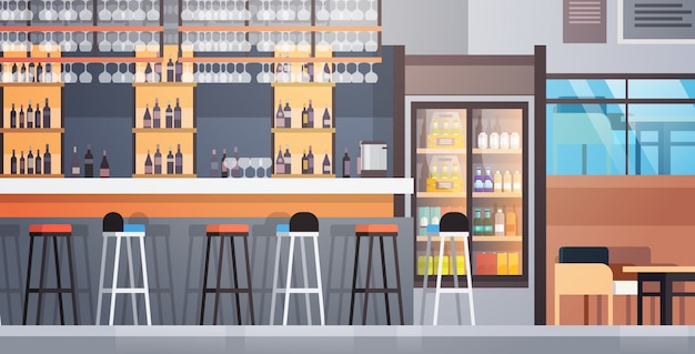 Bar interior cafe counter with bottles of alcohol and glasses on shelf Premium Vector