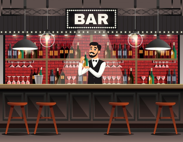 Bar interior realistic composition Free Vector