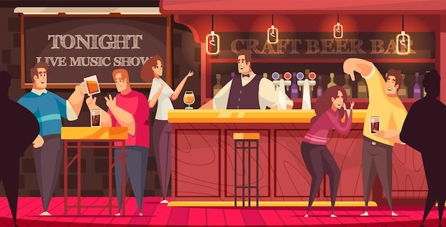 Bar live music illustration visitors have fun and chat at the bar illustration Premium Vector